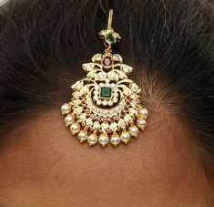 22 Karat Gold Maang Tikka with Cz, Ruby , Emerald & Japanese Pearls - Papidi Billa Gold Wedding Jewelry, Gold Jewelry Simple, Bridal Jewelry Sets, Bridal Jewellery, Jewelry Design Earrings, Gold Earrings Designs, Gold Designs, Necklace Designs, Beaded Jewelry