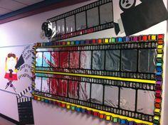 Hollywood Theme Bulletin Board- love the foil idea. Hollywood Bulletin Boards, Movie Bulletin Boards, Hollywood Theme Classroom, Stars Classroom, Music Classroom, Future Classroom, Classroom Themes, Star Themed Classroom, Owl Classroom