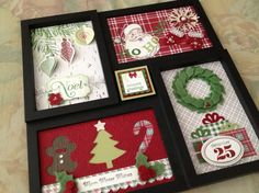frame old Christmas cards for decoration. (garage sale frames)