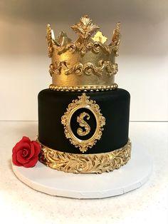 Birthday Cake Crown, Birthday Present Cake, Birthday Cake For Him, Elegant Birthday Cakes, Cake Decorating Videos, Birthday Cake Decorating, Black And Gold Birthday Cake, Fondant Cake Designs, Artist Cake