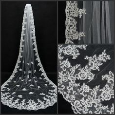 New 1 Layer White/Ivory Lace edge Cathedral Long Bridal Wedding Veil With Comb