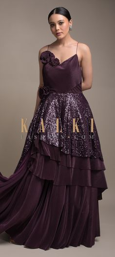 Grape Purple Gown In Crushed Lycra With Fancy Layered Waistline And Flowers Online - Kalki Fashion Long Dresses, Elegant Dresses, Indowestern Gowns, Reception Gown, Purple Gowns, Flowers Online, Baby Girl Dresses, Spaghetti Straps, Diy Clothes