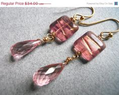 Blush teardrop earrings of Czech glass and grapefuit quartz on Etsy, $28.90