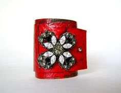 adjustable red leather cuff bracelet with vintage brooch on Etsy, $50.00