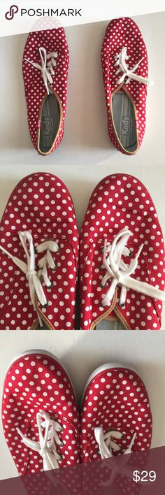 Women's Red and White Polka Dot Keds Size 10 Women's Red and White Polka Dot Keds Size 10   This beautiful pair of sneakers have been worn only a few times and is in very good condition. Offers are welcome. Keds Shoes