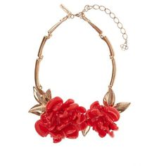Oscar De La Renta Floral resin necklace ($345) ❤ liked on Polyvore featuring jewelry, necklaces, collar, jewels, red gold, leaves necklace, resin necklace, oscar de la renta necklace, resin chain necklace and resin jewelry
