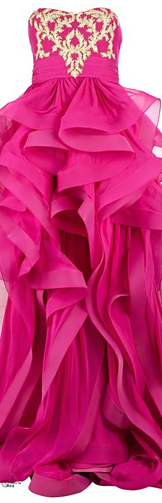 Reem Acra ● Pink silk embroidered ruffled dress