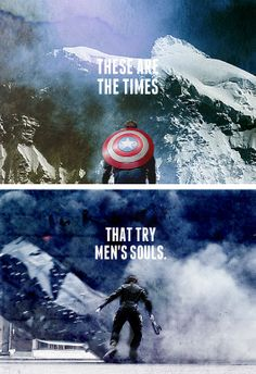 """Captain America: The Winter Soldier with my favorite line from Thomas Paine's """"The Crisis"""" written during the Revolutionary War. I love this so much. #history"""