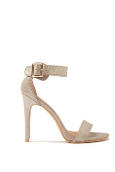 """Our barely there"""" stiletto Tequila features a flattering single vamp strap, closed in heel counter and adjustable ankle strap, finished off with metal hardware. Heel height measures 11.5cm. 100% Synthetic Materials"""