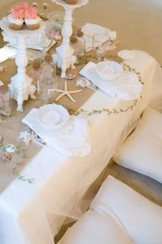 Mermaid Themed Baby Shower/Birthday Party: Gorgeous Shabby Chic Beachy Mermaid Party Table Decor