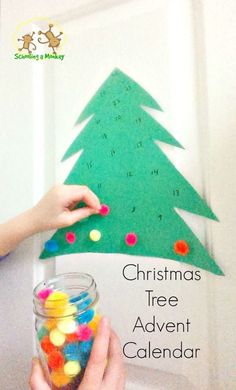 Looking for an advent calendar for kids? This pom pom Christmas tree advent calendar is super easy and makes a great Christmas craft for kids! (easy crafts for kids pom poms) Lego Advent Calendar, Christmas Tree Advent Calendar, Advent Calendars For Kids, Printable Christmas Cards, Kids Calendar, Christmas Countdown, Christmas Activities For Kids, Preschool Christmas, Christmas Holidays