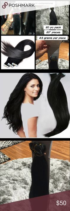 """Jet black tape-in extensions TAPE-IN EXTENSIONS 20 piece packs 20""""  long 100 % Human hair (malaysian virgin hair) Can be dyed! 👍🏽 No trades GLAMR ROCK Accessories Hair Accessories"""