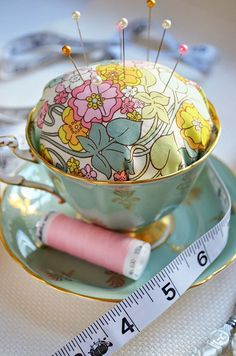 DIY Craft Room Ideas and Craft Room Organization Projects - Tea Cup Pin Cushion - Cool Ideas for Do It Yourself Craft Storage - fabric, paper, pens, creative tools, crafts supplies and sewing notions | http://diyjoy.com/craft-room-organization