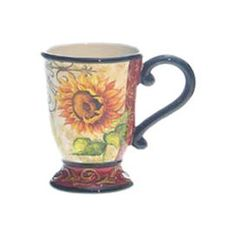"""Set of four stoneware mugs with hand-painted sunflower motifs.       Product: Set of 4 mugs  Construction Material: Stoneware  Color: Multi   Features:  15 Ounces each Hand-decorated  Dimensions: 1"""" H x 8.25"""" Diameter each    Cleaning and Care: Dishwasher and microwave safe"""