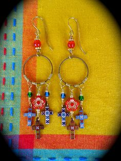 Corazon y Alma ~ Heart and Soul earrings with wrapped brass hoops and vintage enameled crosses by qisma @ Etsy