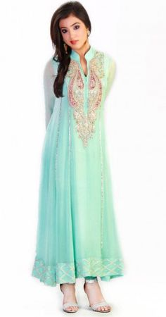 Light Sea Green Crinkle Chiffon A-Line Dress Eid Collection Eid Collection 2015 Embroidered Salwar Suits Festive Eid Collection by GulAhmed Girls Party Dresses Indian casual dresses Designer Party Dresses, Party Dresses Online, Party Dresses For Women, Prom Dresses, Summer Dresses, Dresses 2014, Latest Pakistani Dresses, Pakistani Designers, Girls Party Dress
