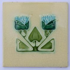 Antique Art Nouveau Tile by Corn Bros, c1905