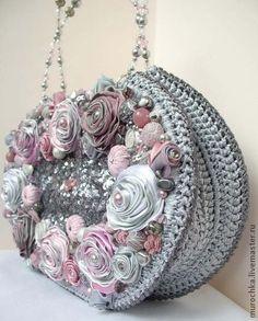 """Сумочка """"Перед грозой"""" (вторая вариация). - серый,цветочный,нарядная сумочка"""