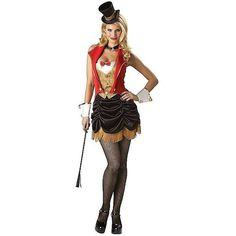 Womens Flirty Three Ring Hottie Costume ($80) ❤ liked on Polyvore featuring costumes, costume, halloween costumes, ladies halloween costumes, sexy halloween costumes, womens halloween costumes, sexy lady costumes and circus costumes