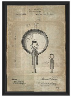 Edison Patent on White by Artwork Enclosed on Gilt Home