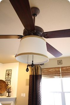 """I will do this soon. I WILL do this SOON... """"How-To"""" add a drum shade to a lighted ceiling fan & get rid of those gawd-awful fluted glass shades."""