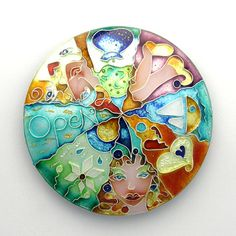 Wheel of Life, by Julie Holmes - A Beautiful and Colourful Enamelled piece(Pendant or Brooch?)~<3<3<3~STUNNING~<3<3<3~