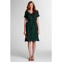 Lands' End Women's Regular Solid Ruffle Front Georgette Dress - Clothing - Women's - Dresses
