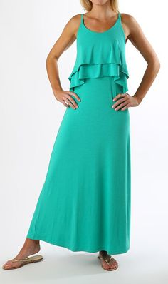 Emerald Ruffled Maureen Maxi Dress