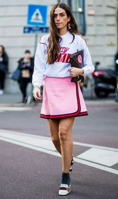 Colorblock pink and red mini skirt
