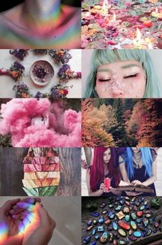 Pastel rainbow witchy vibes for Beltane. Writing Inspiration, Color Inspiration, Character Inspiration, Character Design, Witch Aesthetic, Aesthetic Collage, Rainbow Aesthetic, Jolie Photo, Oeuvre D'art