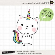 Unicorn Cat SVG Files for Cricut or Silhouette Cute Unicorn Cat Kitty SVG Cut File Caticorn Kittycor Unicorn Cat, Cute Unicorn, Unicorn Drawing, Printable Stickers, Printable Invitations, Printables, Homemade Business, Hello Kitty Wallpaper, Cute Animal Drawings