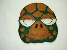 Children's Animal TURTLE Felt Mask Green by magicalattic on Etsy, $12.50