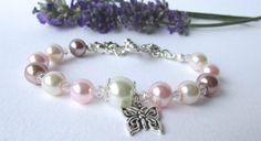 Pink & cream pearl-swarovski crystal bracelet  by DelabudCreations