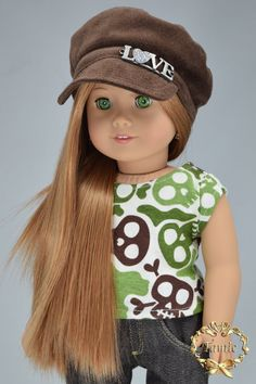 American girl doll clothes OOAK 2 items + a gift ( Tees, Jeans, & hat )