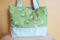 TOTE Bag by PETUNIAS Diaper bag Reversible Large retro by PETUNIAS