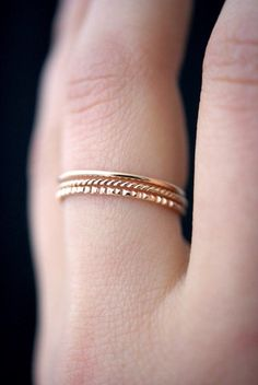 NEW Mixed Texture Rose Gold stacking ring set 14k by hannahnaomi