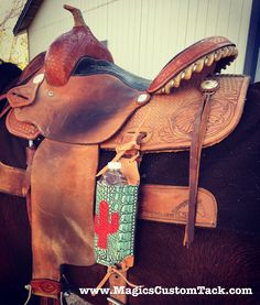 Magics Custom Tack Turquoise and red cactus water bottle holder to attach to your saddle!  Www.magicscustomtack.com Horse rider cowgirl Christmas gift idea
