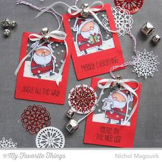 Handmade Holiday Day 5 is up! Today I'm sharing see-thru Santa tags featuring my favorite @mftstamps #birdiebrown Jingle All The Way Stamp set! Aren't these santa's the cutest?!!! I sandwiched the santa's between 2 Insert It Instaframes die cuts each backed with stamped acetate (that @mftstamps Confetti background is awesome!). Silver jingle bells tied up with silk ribbon and baker's twine finish up these cute tags! #handmadeholidayseries2014 #christmas2014 #mftstamps #birdiebrown #Padgram
