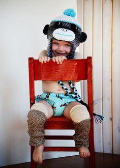 Baby Boy / Toddler Sock Monkey Leg Warmers by callyfindlay on Etsy, $14.00