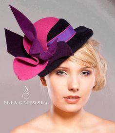 PLUM and NAVY FELT Top Hat Fascinator by EllaGajewskaHATS on Etsy, £99.00 https://www.etsy.com/treasury/MjYzNTEzNzV8MjcyMzI0MzYxNQ/think-spring-freesia-and-radiant-orchid