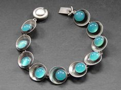 N.E From Sterling and Green Chalcedony Bracelet