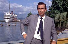 Sean Connery as James Bond! The Only Bond. Sean Connery James Bond, James Bond Suit, Bond Suits, James Bond Movies, Handsome Men In Suits, Georgia Street, Light Grey Suits, Men Are Men, Scottish Actors