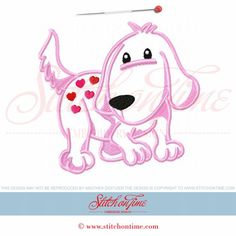 370 Valentine : Heart Dog Applique 5x7