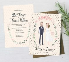 Whimsical and sweet peach and cream wedding invitation sweet - custom illustrated couple invitation