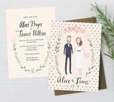 Whimsical and sweet peach and cream wedding invitation sweet - custom illustrated couple invitation