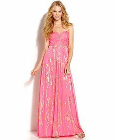 City Studio Juniors' Strapless Printed Rhinestone Gown - Juniors Prom Dresses - Macy's