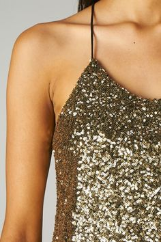 SEQUINED FRONT RACERBACK TOP (GOLD)