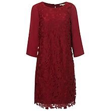 White Stuff Floral Lace Dress, Rich Red