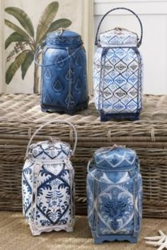 Jimbaran Bay Rice Baskets from Soft Surroundings Kind Of Blue, Love Blue, Blue And White, Chinoiserie, Rice Box, Asian Interior Design, Asian Decor, Thai Decor, Basket Crafts