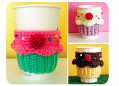 Coffee Mug Cozy Crochet Pattern | Cupcake Coffee Cup Cozy by Twinkie Chan | Crocheting Pattern